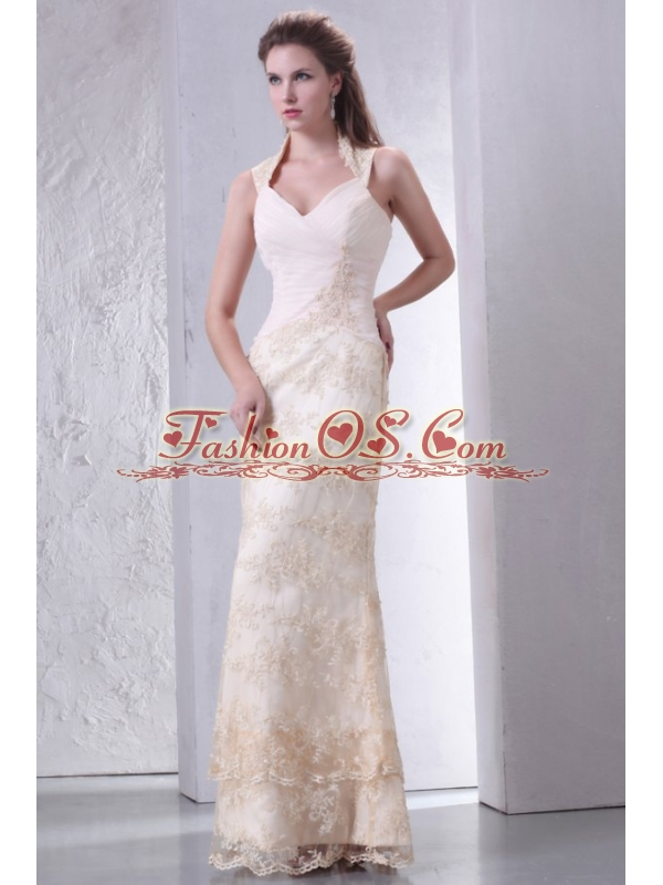 Beautiful Halter Top Column Lace Wedding Dress Floor-length