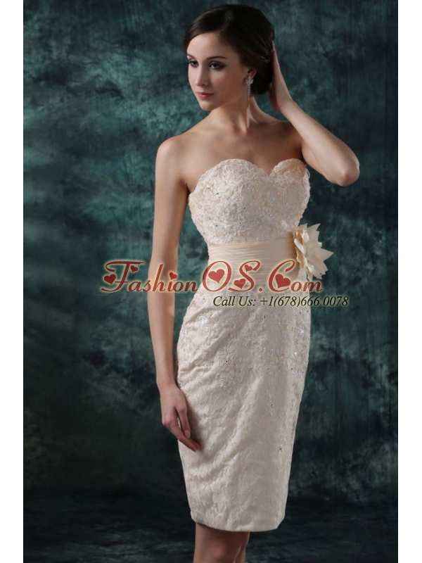 Champagne Column Sweetheart Knee-length Wedding Dress with Flowers