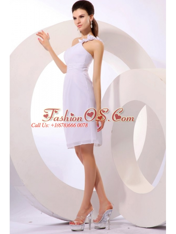 Column One Shoulder Ruching Chiffon Knee-length Wedding Dress