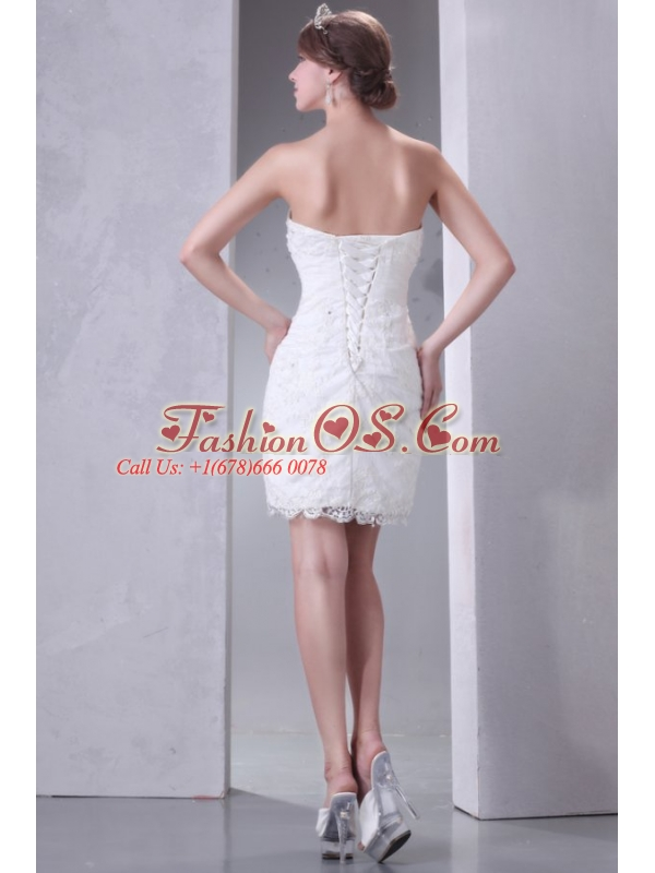 Column Strapless Mini-length Lace Wedding Dress with Lace Up