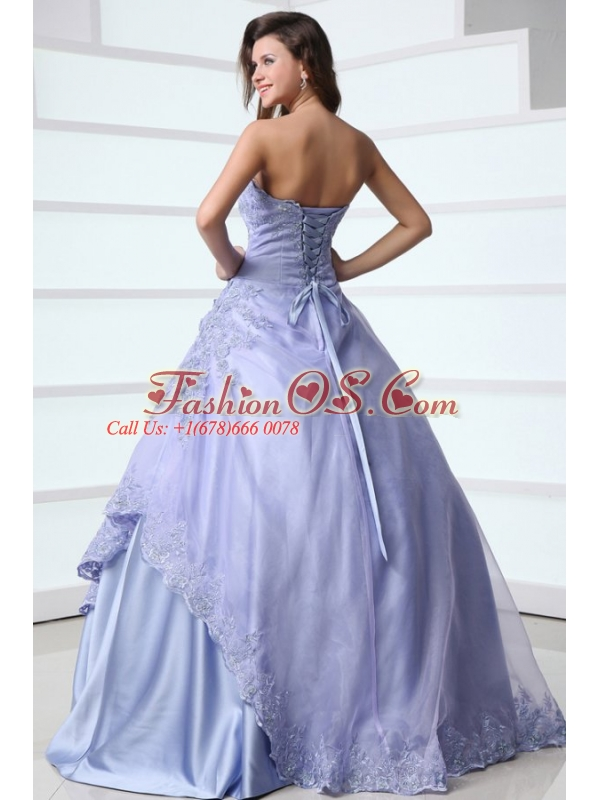 2014 Spring Strapless Appliques Decorate Quinceanera Dress in Lavender