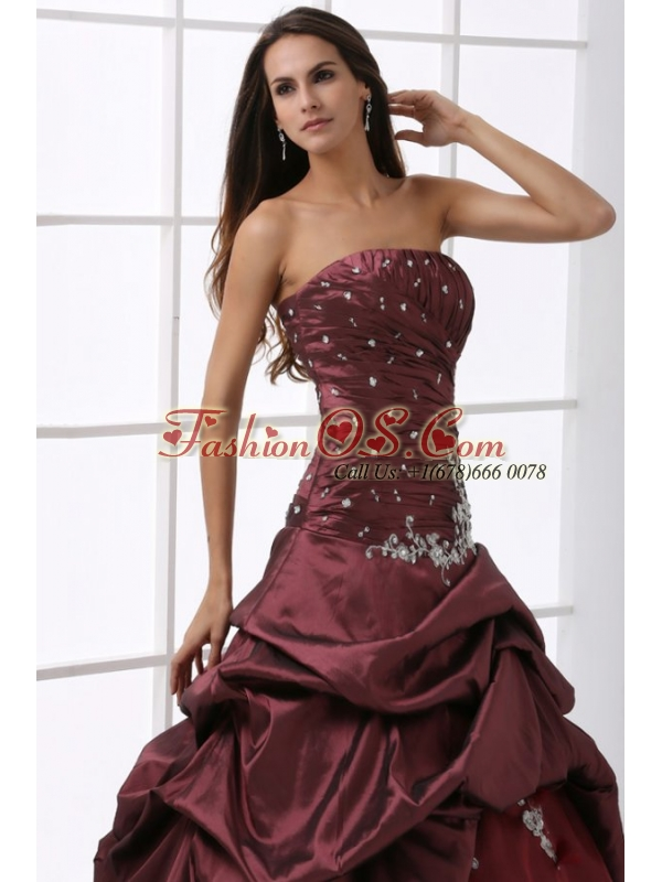 A-line Burgundy Strapless Beading and Appliques Quinceanera Dress