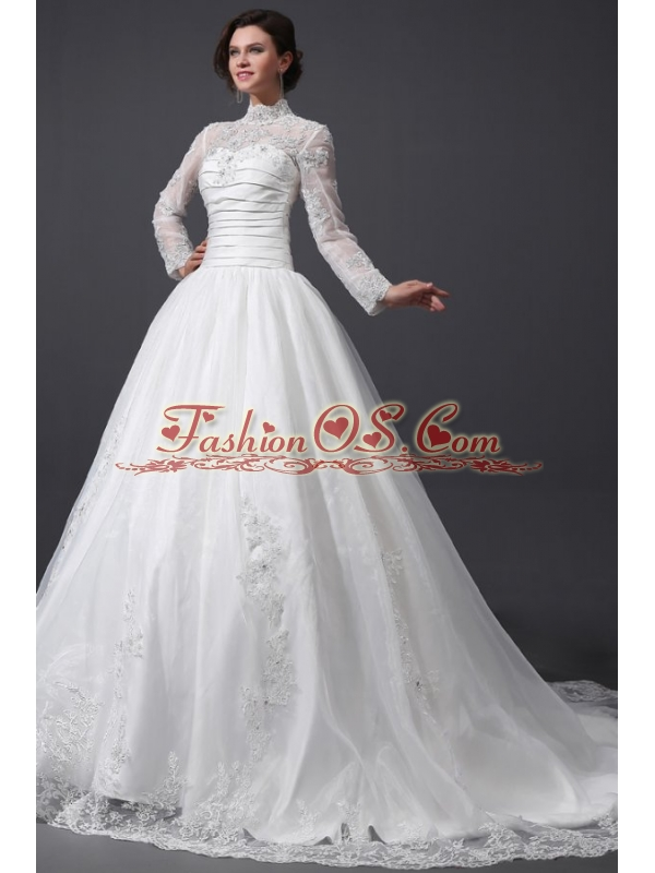A-Line High Neck Organza Wedding Dress with Chapel Train with Appliques