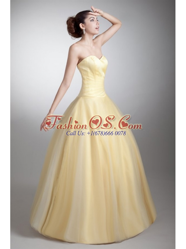 A-line Sweetheart Full Length Ruche Quinceanera Dress in Light Yellow