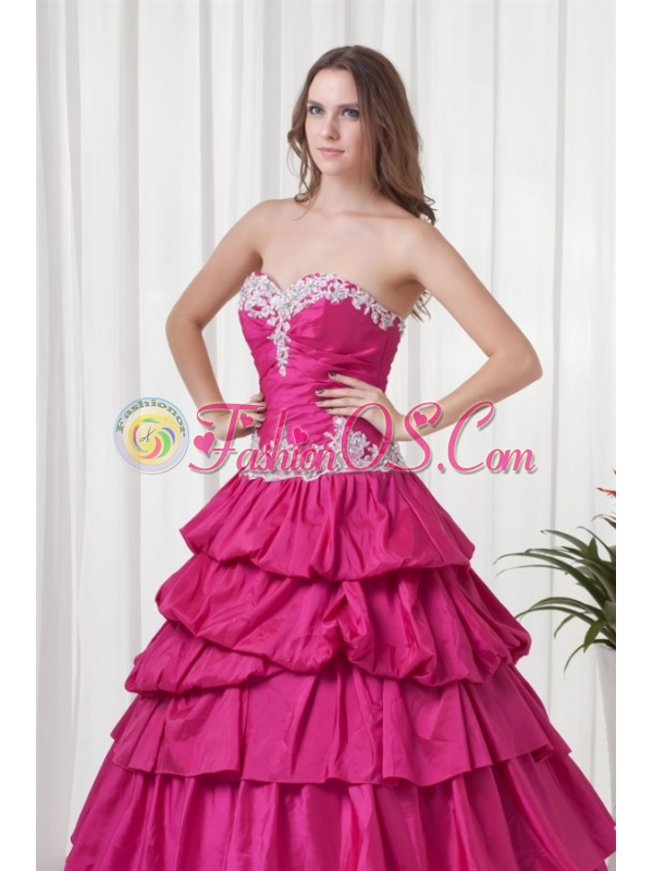 A-line Sweetheart Hot Pink Taffeta Appliques Long Quinceanera Dress