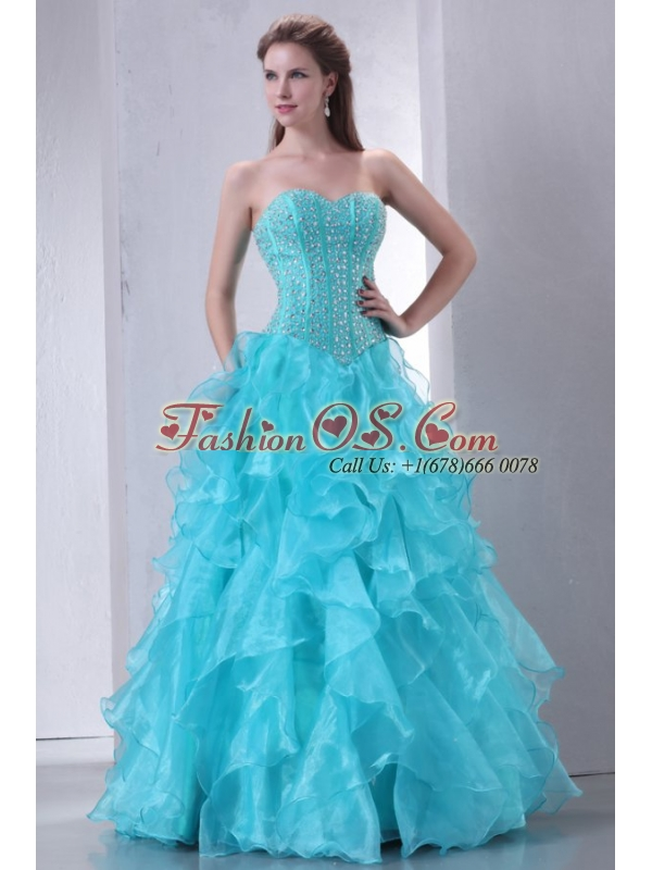A-line Turquoise Sweetheart Beading and Ruffles Quinceanera Dress