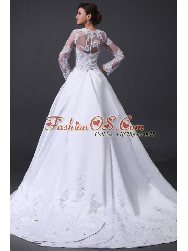 A-Line V-Neck Appliques 2014 Wedding Dress with Long Sleeves