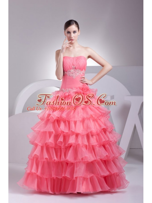 Appliques and Ruffles Layered Strapless Watermelon Quinceanera Dress