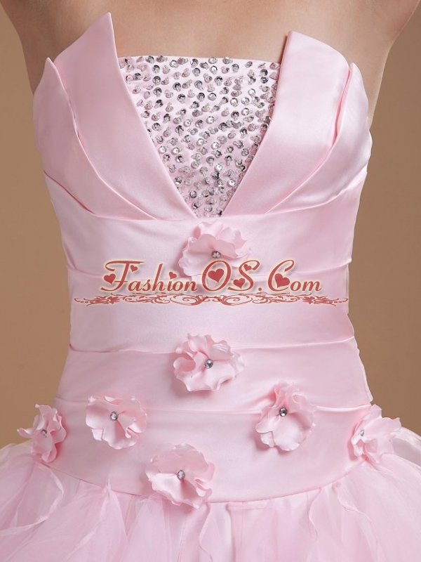 Beading and Ruffles Strapless Organza Quinceanera Dress in Baby Pink