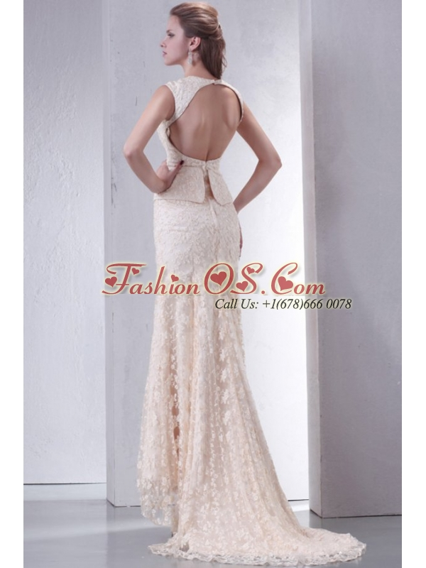 Champagne Column V-Neck Brush Train Short Sleeves Lace Wedding Dress with Lace Up