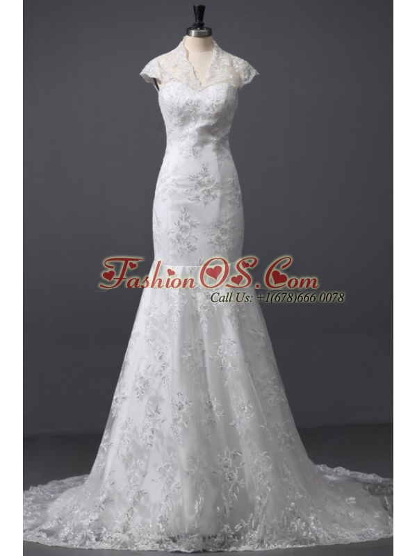 Column High Neck Appliques Lace Wedding Dress with Court Train
