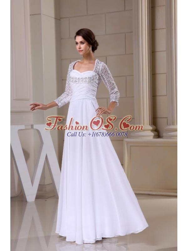 Empire Sweetheart Zipper Up Beading and Ruching Wedding Dress