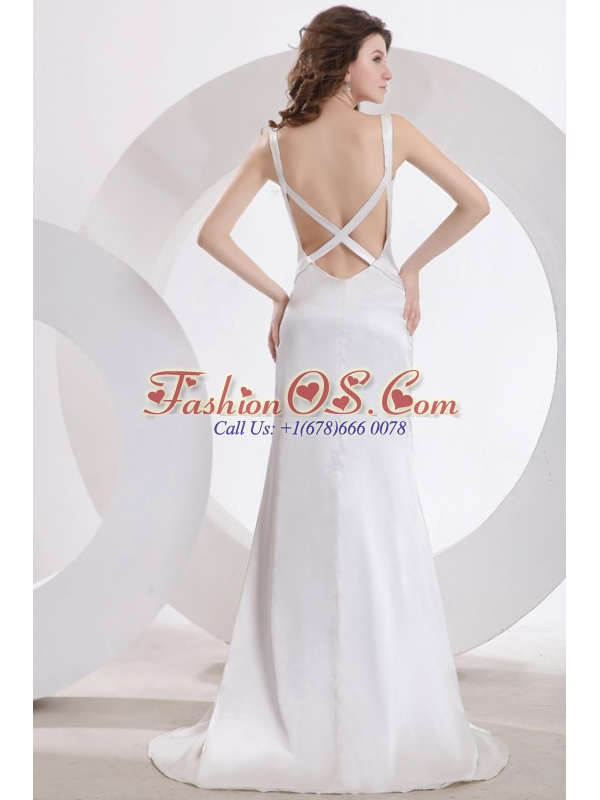 Fashionable Column V-Neck Brush Train Ruching Wedding Dress