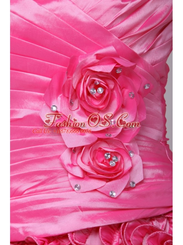 Hot Pink One Shoulder Hand Made Flowers and Ruffles Quinceanera Dress