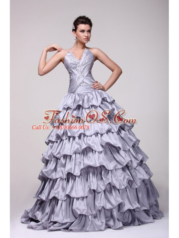 Lavender V-neck Beading and Ruffles Layered Quinceanera Dress