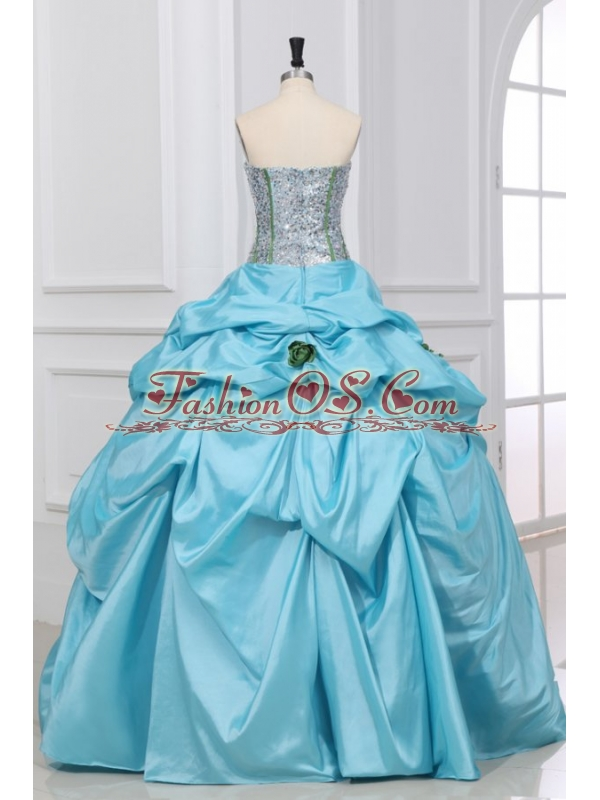 Light Blue Strapless Sequins and Taffeta Quinceanera Dress with Flowers