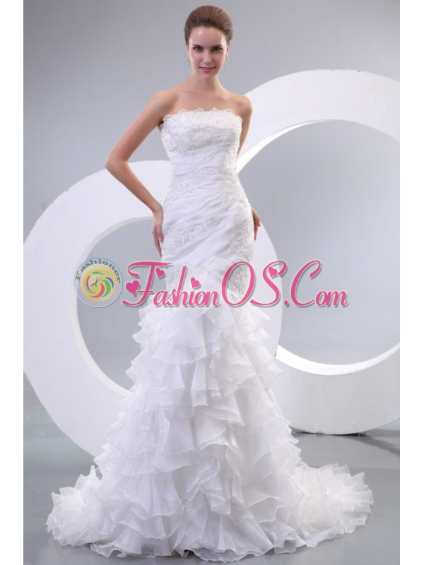 Luxurious Mermaid Strapless Organza 2014 Wedding Dress with Zipper-up