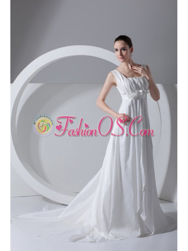 Simple Empire Square Taffeta Court Train Zipper Up Wedding Dress