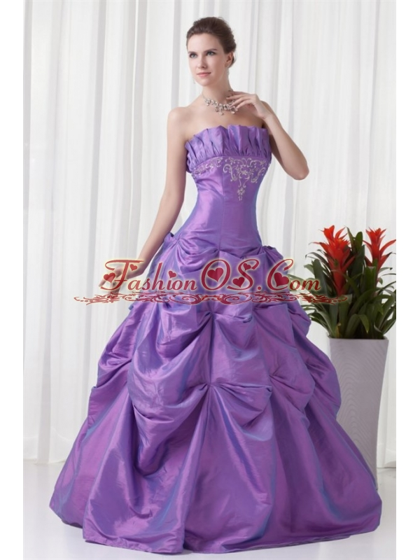 Strapless Appliques and Pick-ups Taffeta Lilac Quinceanera Dress