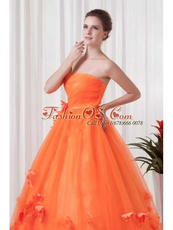 Strapless Orange Red A-line Quinceanera Dress with Hand Made Flowers