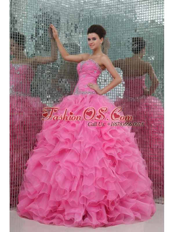 Strapless Rose Pink Organza Beading and Ruffles Quinceanera Dress
