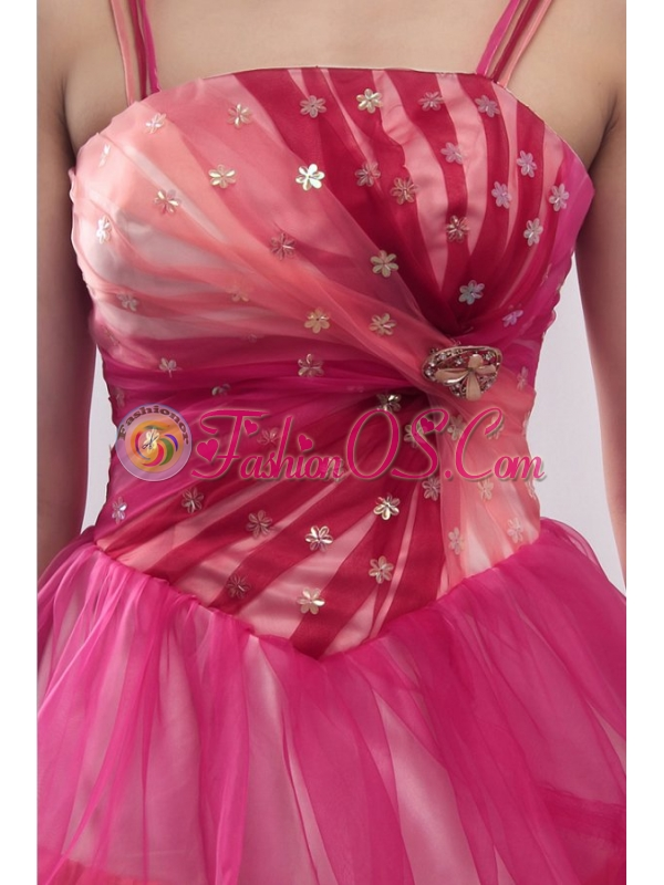 Straps Beading and Ruffles Layered Quinceanera Dress in Pink