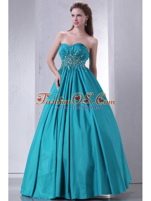 Sweetheart A-line Beaded Decorate Waist Quinceanera Dress in Turquoise