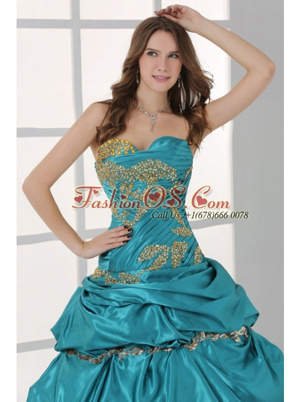 Sweetheart Beading and Ruche Quinceanera Dress in Turquoise