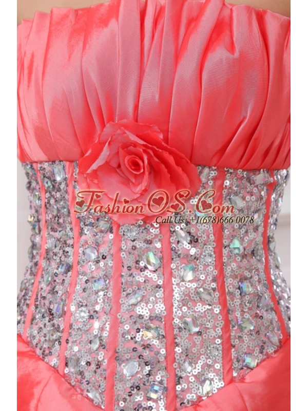Watermelon Strapless Sequins and Pick-ups Taffeta Quinceanera Dress