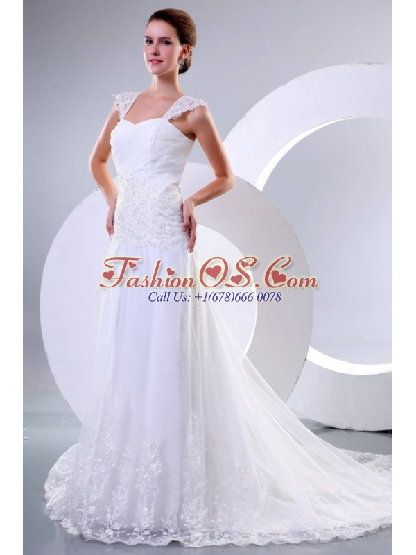 Wide Straps Empire Appliques Decorate Court Train Wedding Dress
