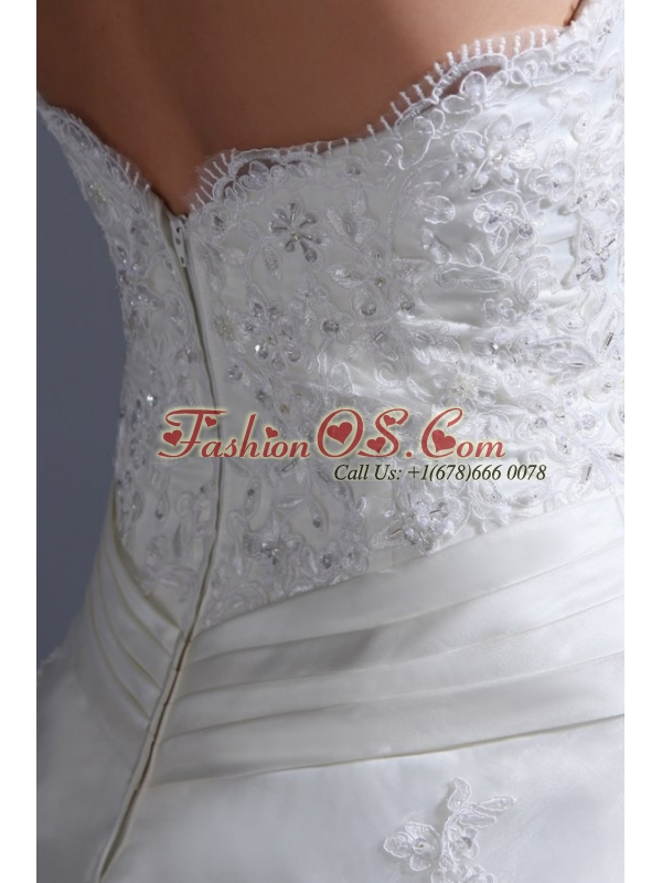 2014 Appliques Ball Gown Court Train Wedding Dress with Strapless