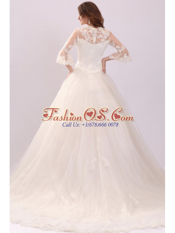 A-line Strapless Appliques Wedding Dress with 3/4 Length Sleeves