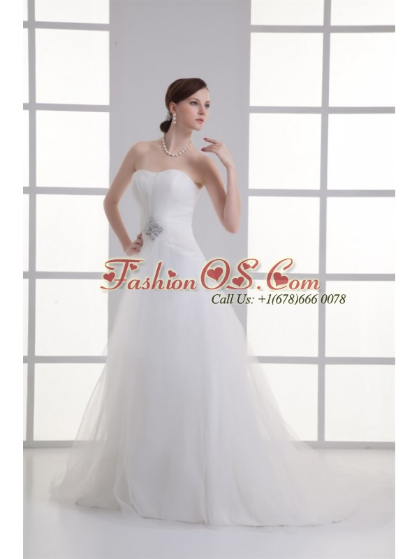 A-line Sweetheart Beading Tulle Ruching Wedding Dress