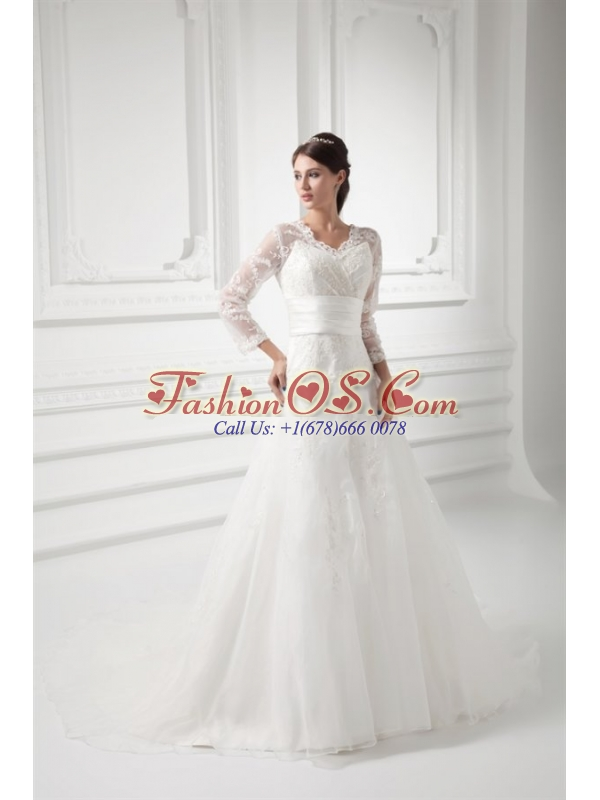 A-line V-neck Long Sleeves Lace Belt Court Train Wedding Dress