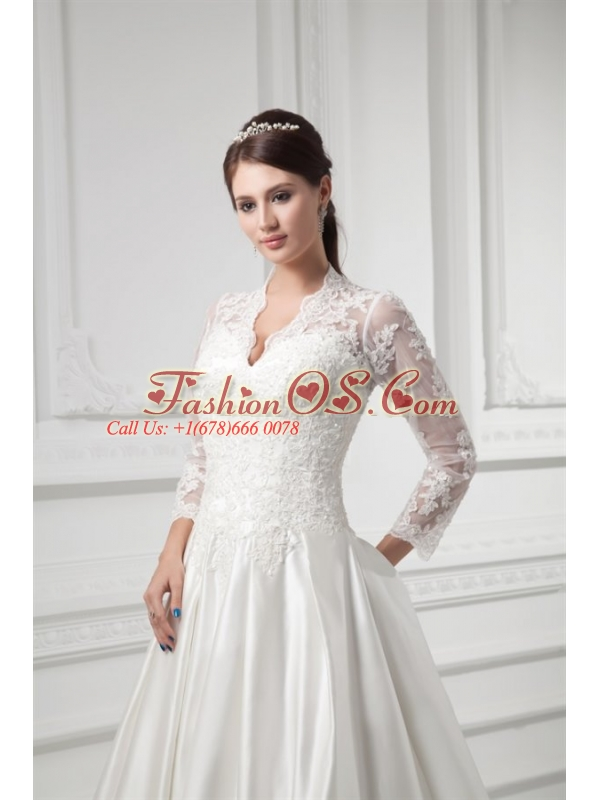 A-line V-neck Long Sleeves Satin Chapel Train Wedding Dress