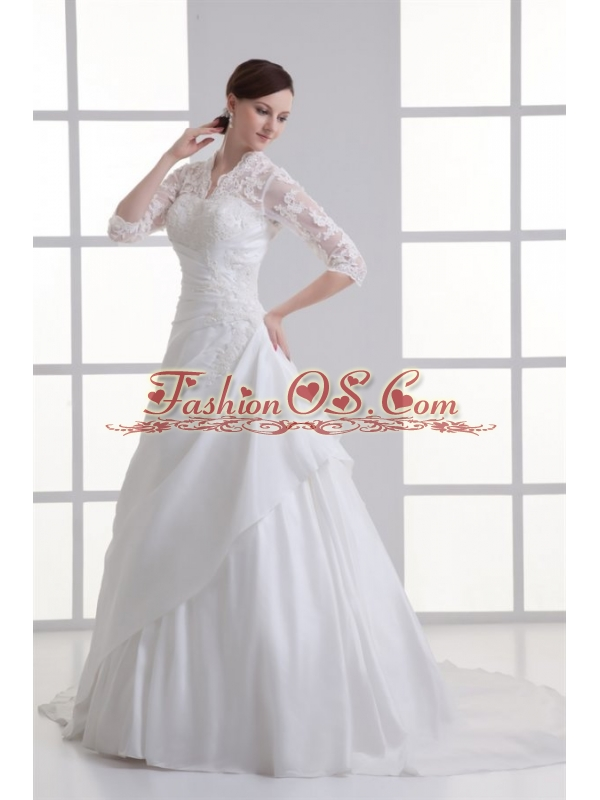 A-line V-neck Long Sleeves Taffeta Court Train Wedding Dress