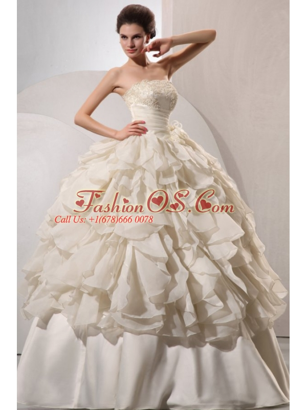 Ball Gown Strapless Appliques and Hand Made Flowers Wedding Dress