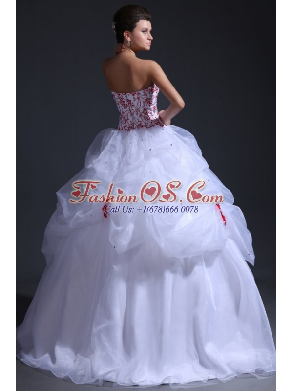 Ball Gown Sweetheart Organza Wedding Dress with Red Embroidery
