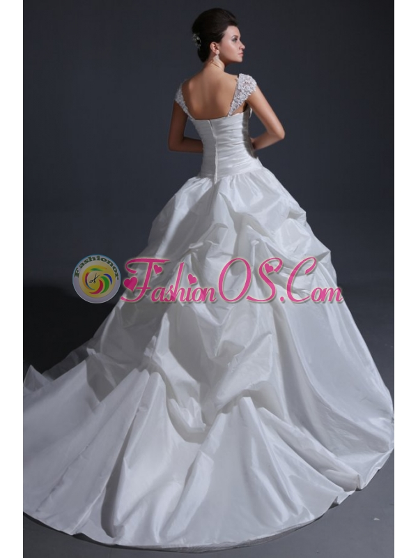 Ball Gown Wide Straps Wedding Dress with Appliques and Flowers