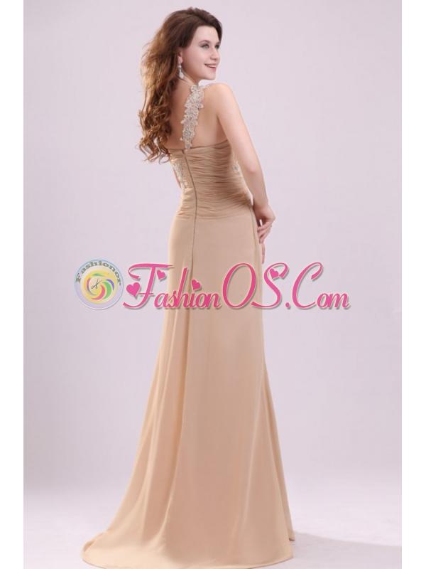 Champagne One Shoulder Appliques and High Silt Wedding Dress