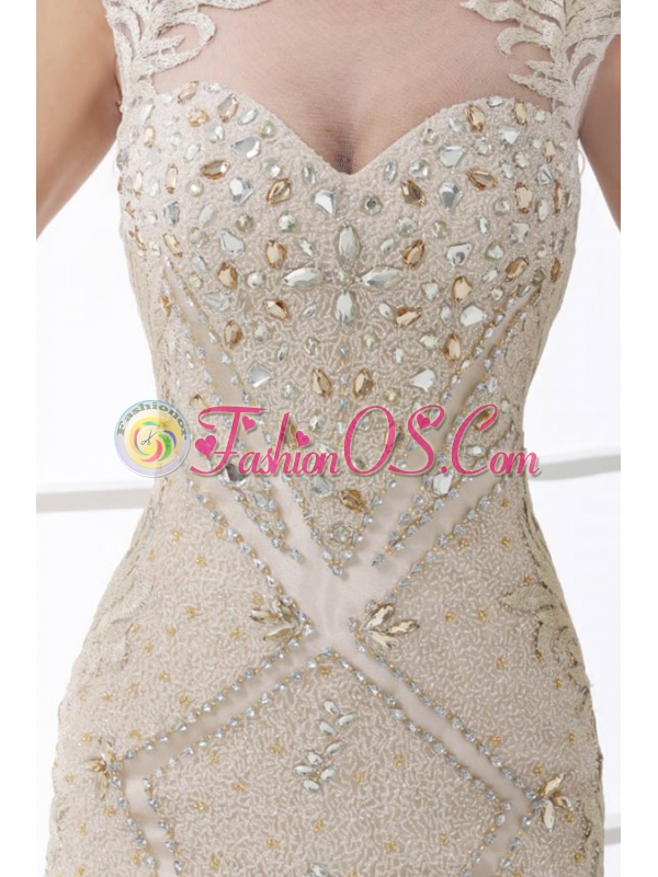 Champagne Scoop Cap Sleeves Beading Brush Train Wedding Dress