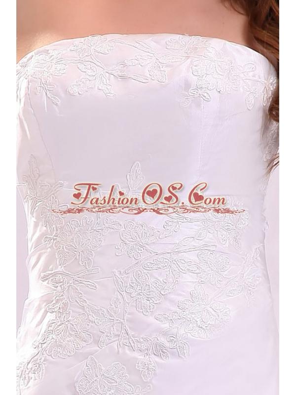 Cheap Column Strapless Floor-length Wedding Dress with Appliques