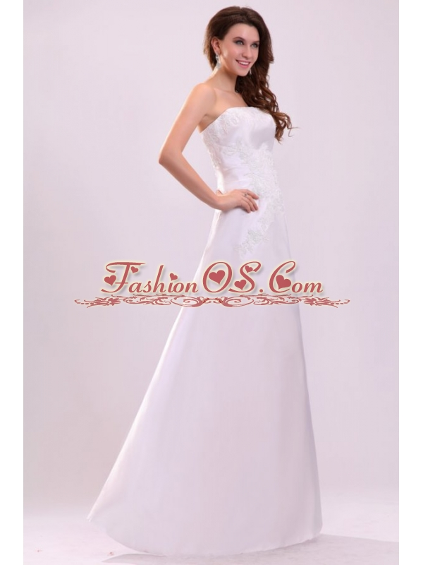 Cheap Column Strapless Floor-length Wedding Dress with Appliques