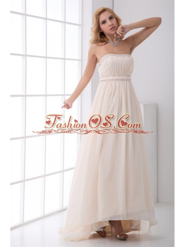 Cheap Empire Strapless Asymmetrical Wedding Dress with Beading