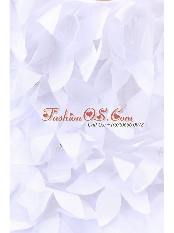 Cheap Sweetheart Asymmetrical Hand Made Flowers Wedding Dress