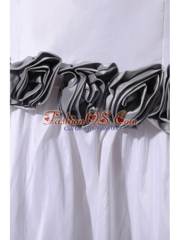 Column Strapless Floor-length Wedding Dress with Gray Hand Made Flowers