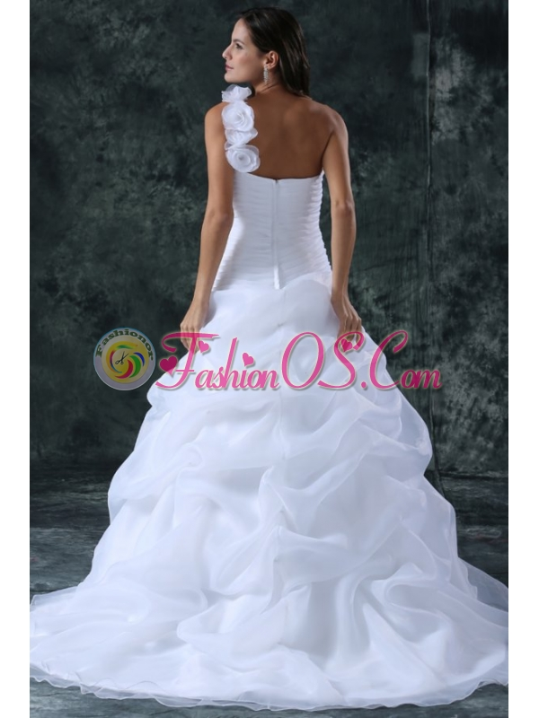 Elegant A-Line Organza Brush Train Zipper Up Wedding Dress with Ruching