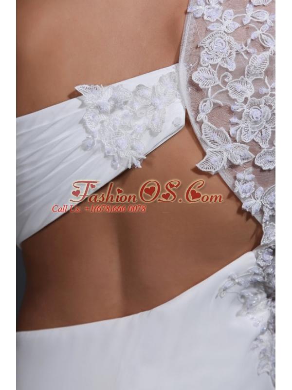 Empire Chiffon One Shoulder Appliques Wedding Dress with Train
