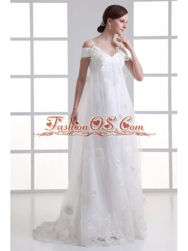 Empire Spaghetti Straps Lace Brush Train Wedding Dress