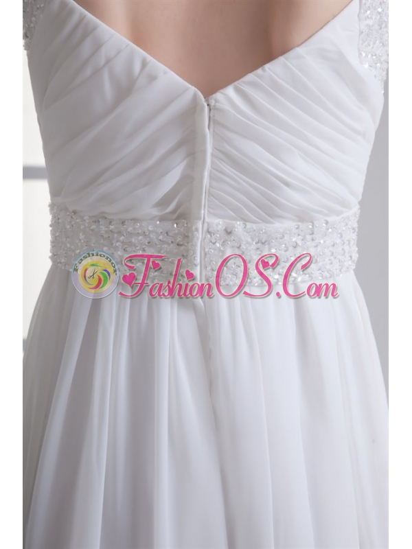 Empire Square Half Sleeves Chiffon Court Train Wedding Dress